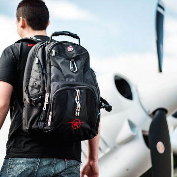 CubCrafters Swissgear Backpack Black with Plane logo
