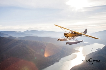 Poster, 36x24, Carbon Cub Floatplane Over Columbia River