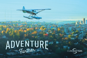 Poster, 36x24, XCub Floatplane Over Seattle