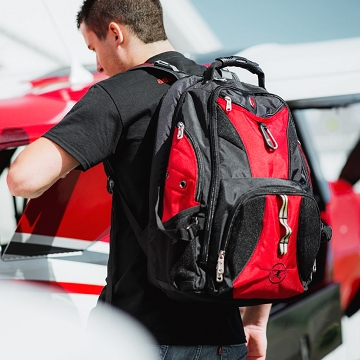 Red Backpack with Plane logo