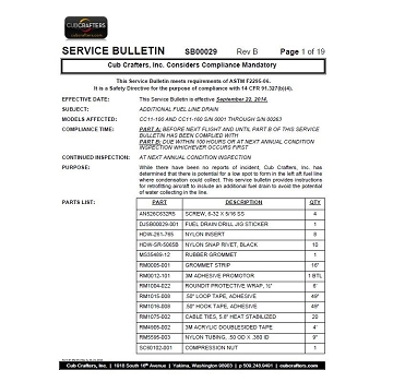 Service Bulletin No. 00029-Fuel Line Retrofit Kit