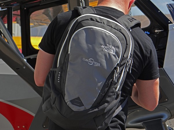 Grey CubCrafters logo backpack