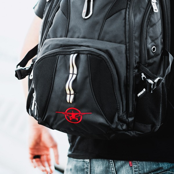 Black Backpack with Plane logo